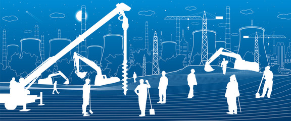 Construction plant. People working. Industry machinery, cranes and bulldozers. Infrastructure urban buildings illustration. Vector design art