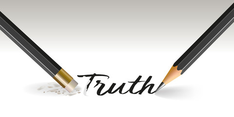 Concept of lying, with a pencil that writes the word truth and another that erases it.