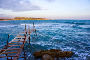 Mediterrean sky, sea &  Fishing pier for a natural wallpaper/background beach pattern, tourism waiting for summer
