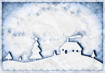 blue ballpoint pen doodle christmas background