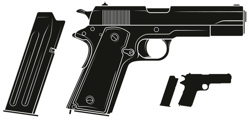 Graphic black and white detailed silhouette handgun pistol with ammo clip. Isolated on white background. Vector icon set. Vol. 2