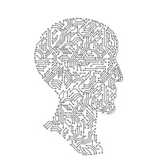 Male head profile silhouette made with printed circuit board, black and white artificial intellect futuristic concept, vector