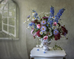 Still life with luxurious bouquet of flowers
