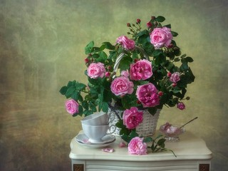 Still life with bouquet of climbing roses