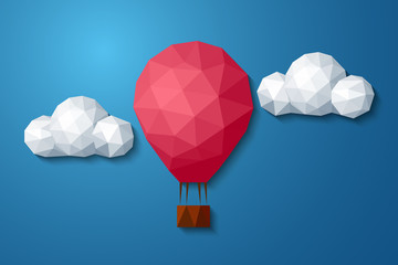 Low polygonal air balloon in cloudy sky, abstract vector background