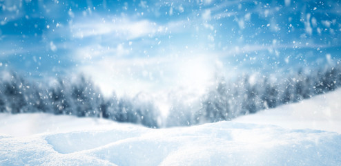 Winter background of snow and free space for your decoration