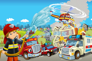 cartoon stage with different machines for firefighting and ambulance colorful and cheerful scene