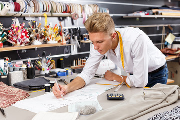 Dressmaker at work – creating pattern