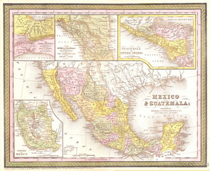 1850, Mitchell Map of Mexico and Texas
