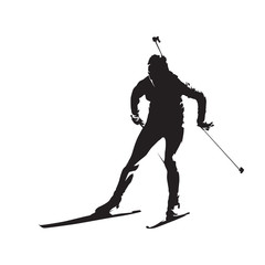 Biathlon racer, isolated vector silhouette, front view. Winter sport
