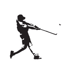 Baseball player hitting ball, batter,  isolated vector silhouette