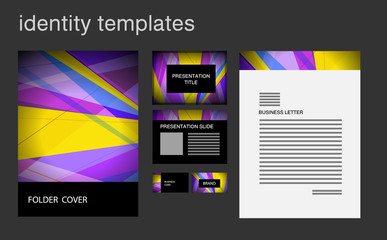 Corporate identity design temlplates including folder cover, business letter, business card, presentation.