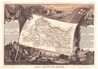 Wall Mural - 1852, Levasseur Map of the Department Bes Du Rhone, France