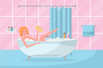 Blond Bob haircut girl in bathtub with washcloth in her hand. Bathroom interior with curtain, tile. Woman taking a bubble bath. Playful pose with leg stuck out of bath.Flat cartoon vector illustration