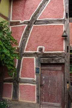 Mulhouse France 10-15-2018. Door of a old traditional  timbered house in the Eco Museum of Alsace  near Mulhouse in France