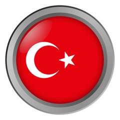 Flag of Turkey round as a button