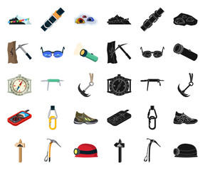 Isolated object of mountaineering and peak symbol. Set of mountaineering and camp vector icon for stock.