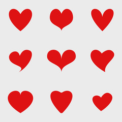 Vector set of red isolated hearts icons. Valentine's day design elements