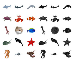 Isolated object of sea and animal icon. Collection of sea and marine stock vector illustration.