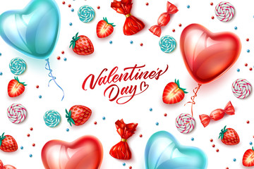 Vector happy valentine day heart balloon candy