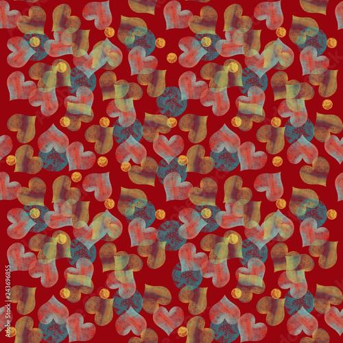 Pattern Con Cuori Multicolore Pastello Su Sfondo Rosso Stock Photo
