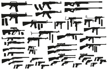 Graphic black detailed silhouette pistols, guns, rifles, submachines, revolvers and shotguns. Isolated on white background. Vector weapon and firearm icons set. Vol. 1