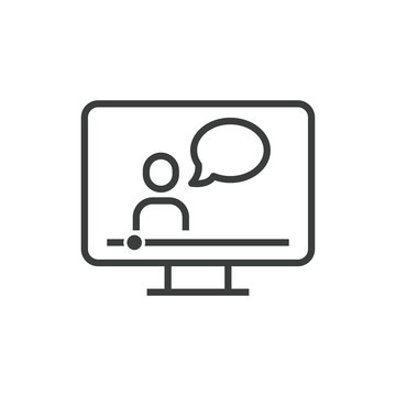 Online education icon of speaking teacher in computer with e-learning from e-book or audio book