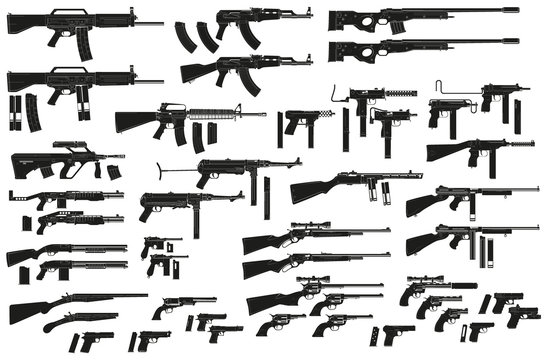 Graphic black detailed silhouette pistols, guns, rifles, submachines, revolvers and shotguns. Isolated on white background. Vector weapon and firearm icons set. Vol. 2