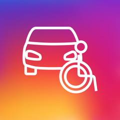 Isolated car icon line symbol on clean background. Vector disabled vehicle  element in trendy style.