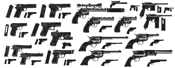 Graphic black and white detailed silhouette modern and retro pistols and revolvers with ammo clip. Isolated on white background. Vector icon set.