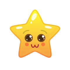 Charming star shaped comic emoticon. Pretty face with facial expression. Comely emoji symbol for internet chatting. Funny social communication animated character. Mood message isolated vector element