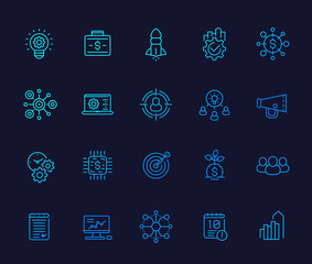 startup line icons, product launch, project management, funding, initial capital, ipo and marketing