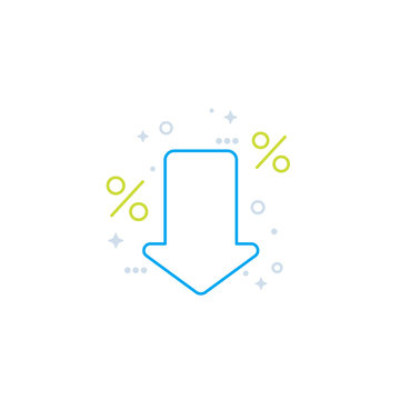 percent down icon, line style vector