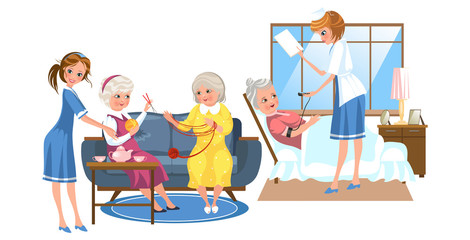 Cartoon picture of nurses taking care of elder people