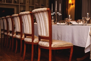 Restaurant interior. Cozy restaurant table setting