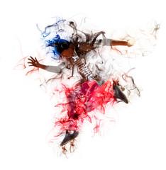 Man break dancing on smoke background