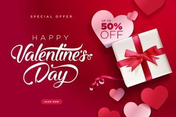 Valentine's Day. Vector illustration concept for background, greeting card, website and mobile website banner, social media banner, marketing material.