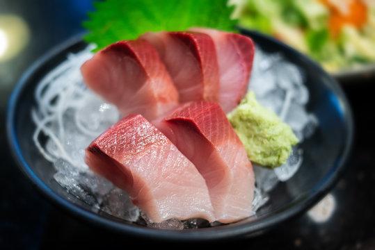 Raw Yellow tail fish or Hamachi sashimi.