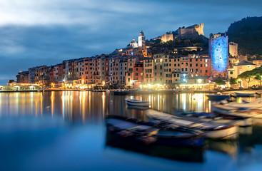 Tranquil night scene at Portovenere, Italy