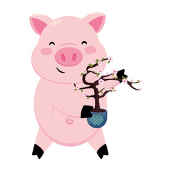 pig with cherry blosssoms tree