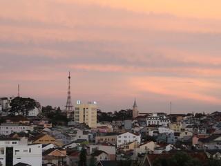 Sunset on the Dalat city, vietnam