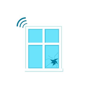 Glass break sensor icon. Clipart image isolated on white background