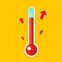 Temperature rising icon. Clipart image isolated on background