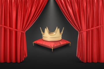 3d rendering of a crown on a red pillow as seen from behind open red stage curtain.