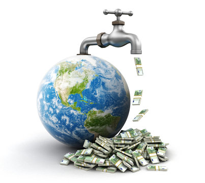 3d Globe and faucet with Euros. Image with clipping path