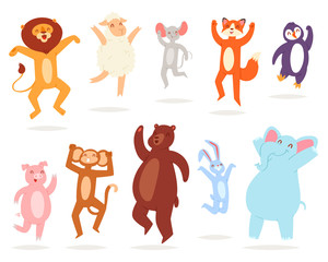 Dancing animals vector animalistic character lion bear fox in childish dance illustration set of monkey pig rabbit jumping isolated on white background
