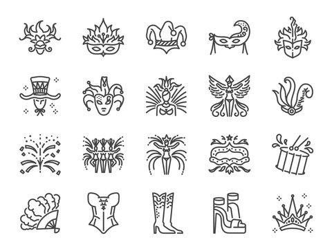 Carnival icon set. Included the icons as mardi gras, celebration, event, cabaret, entertainment and more.