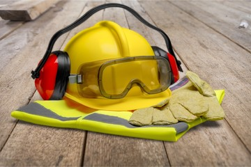 Safety Equipment - Helmet, Goggles, Ear Protection, Vest and Wall mural