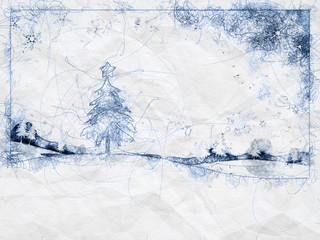 blue christmas ballpoint pen doodle