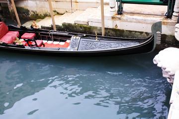 Gondolas in Venice Italy Adriatic sea.